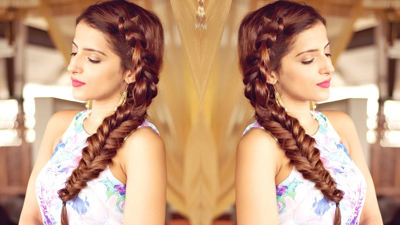Steps On How To Wear Clipin Hair Extensions Visit Http: Hairstyle For  Medium To Long Hair For Prom, Party Indian Hairstyles Side Dutch Braid  Hairstyle