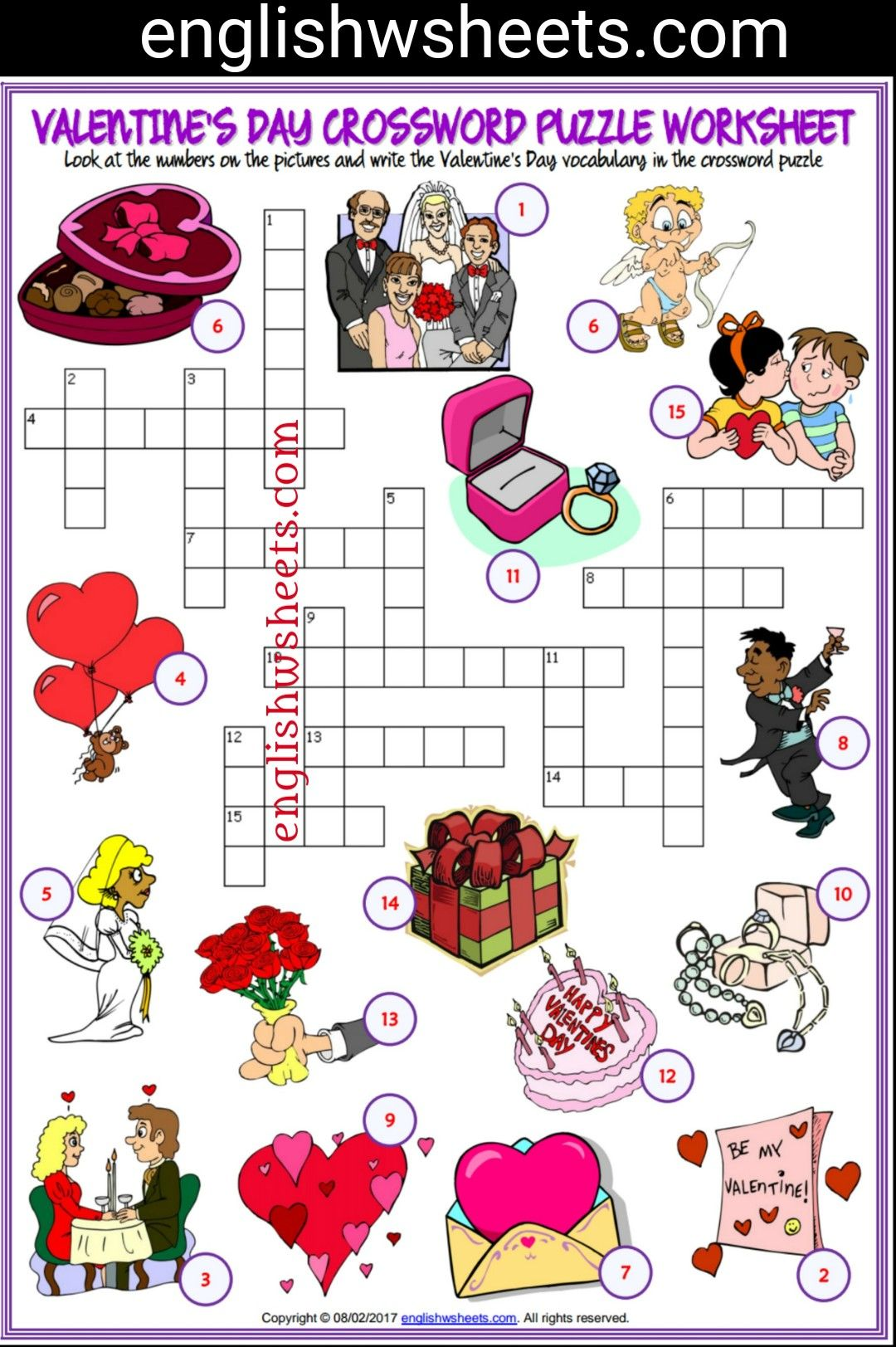 Valentine S Day Esl Printable Crossword Puzzle Worksheet For Kids Valentines Day Esl