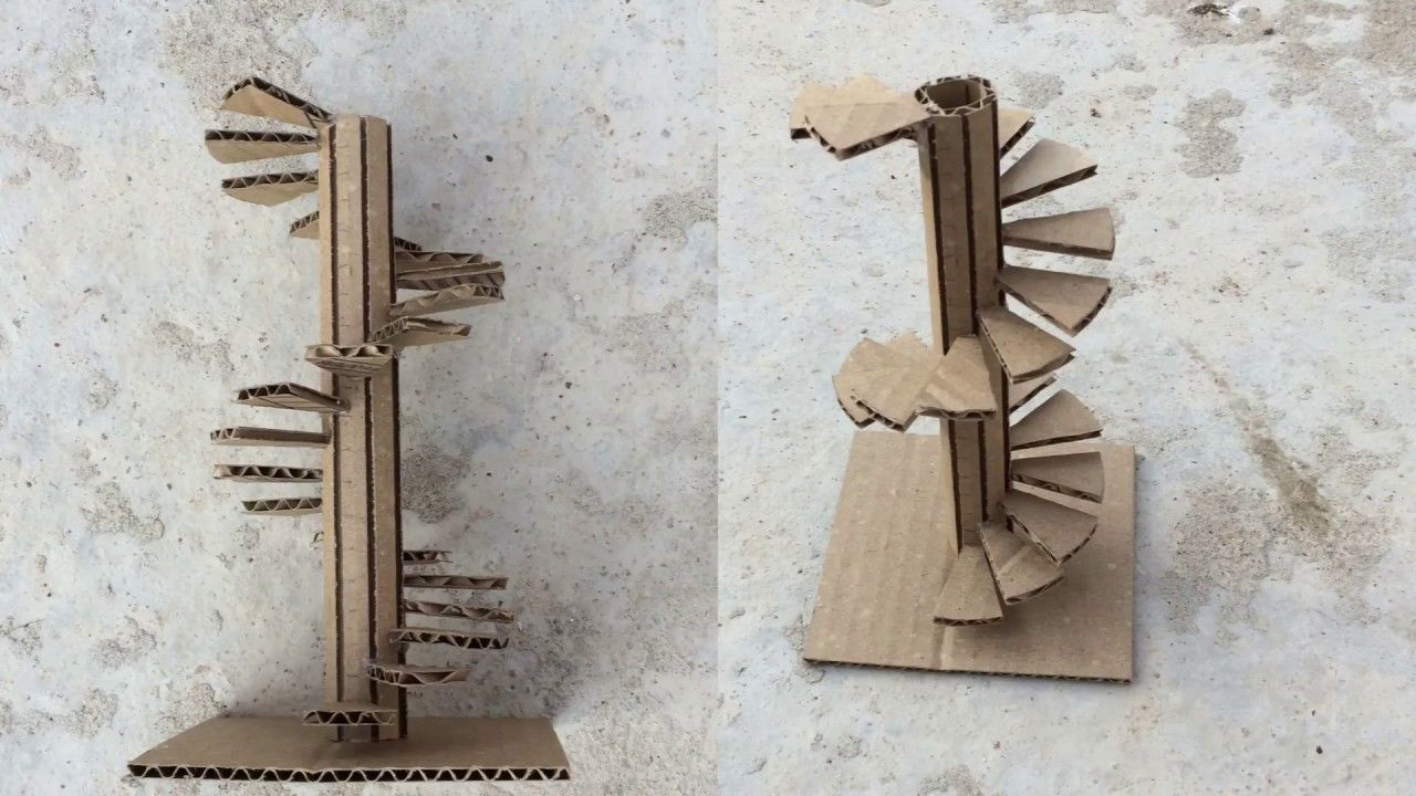 Making A Spiral Stairs Model / out of cardboard/ easy way ...
