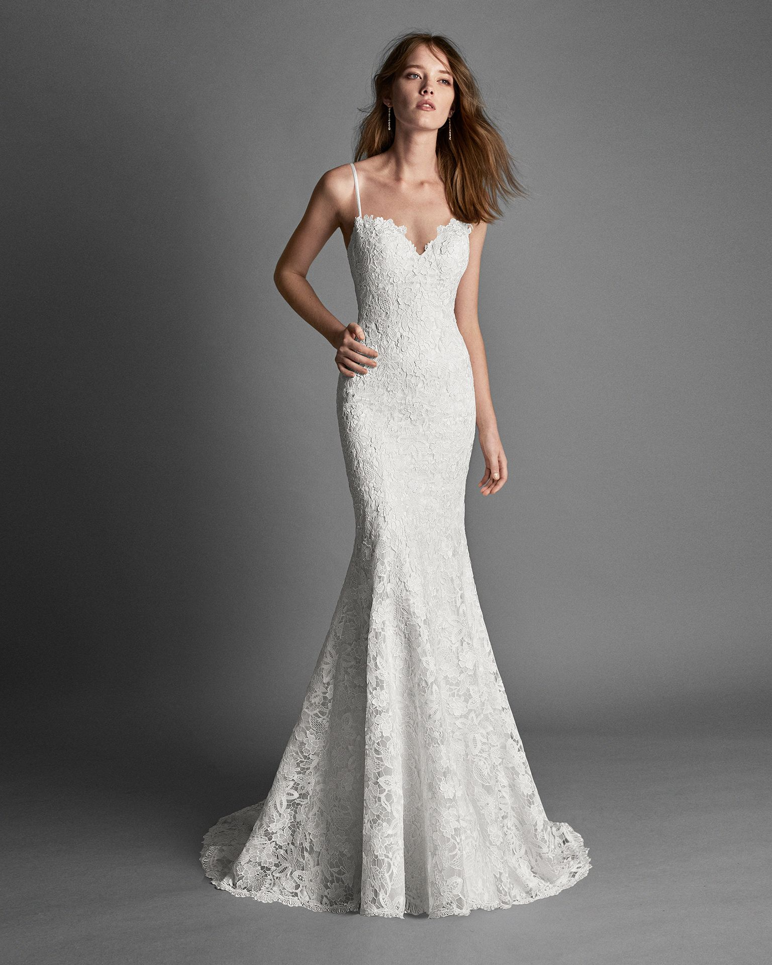 2018 Alma Novia Collection RENIL Mermaid-style guipure lace wedding ...