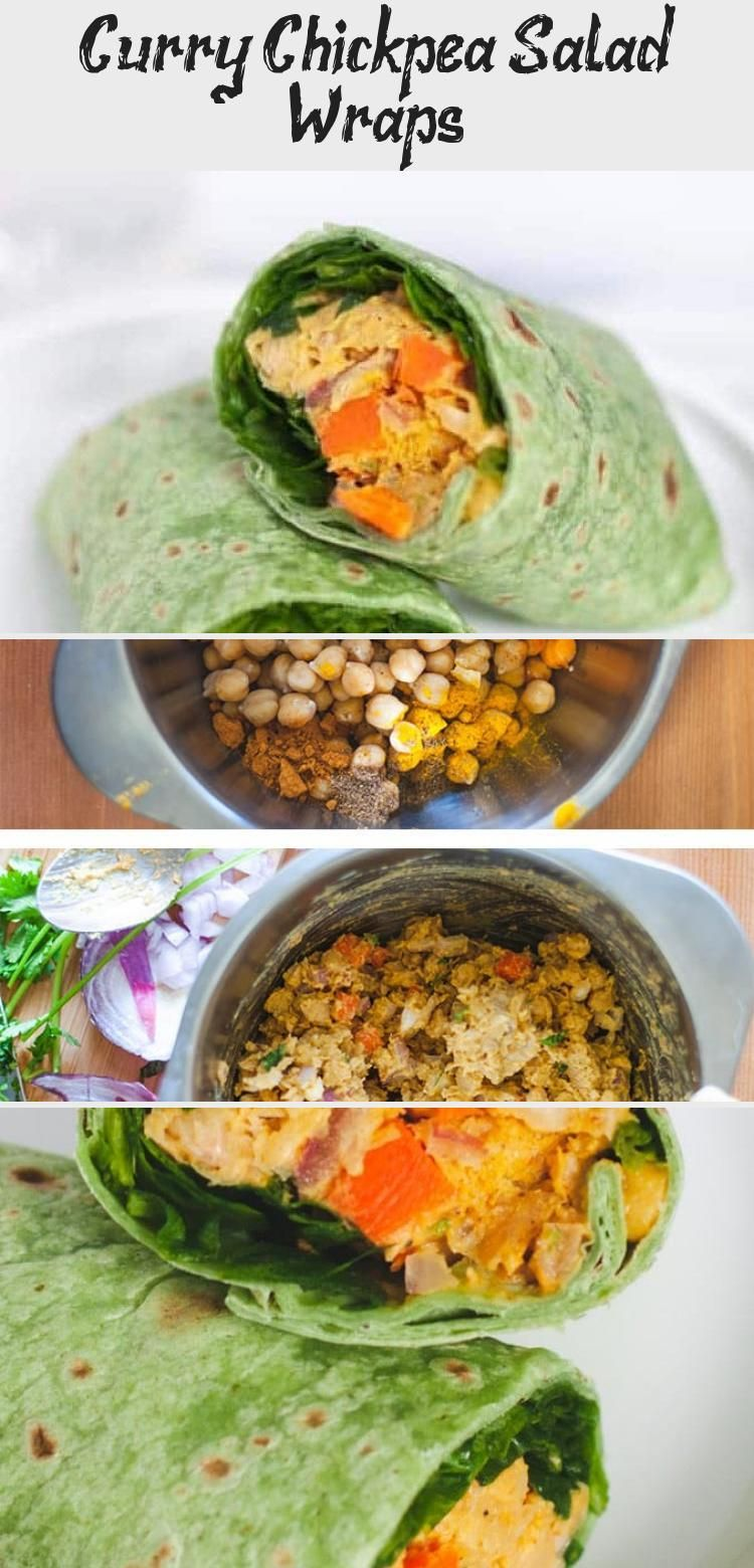 These vegan curry chickpea salad wraps are made in under ten minutes making them the perfect recipe for vegetarian meal prep or a quick lunch chickpeas