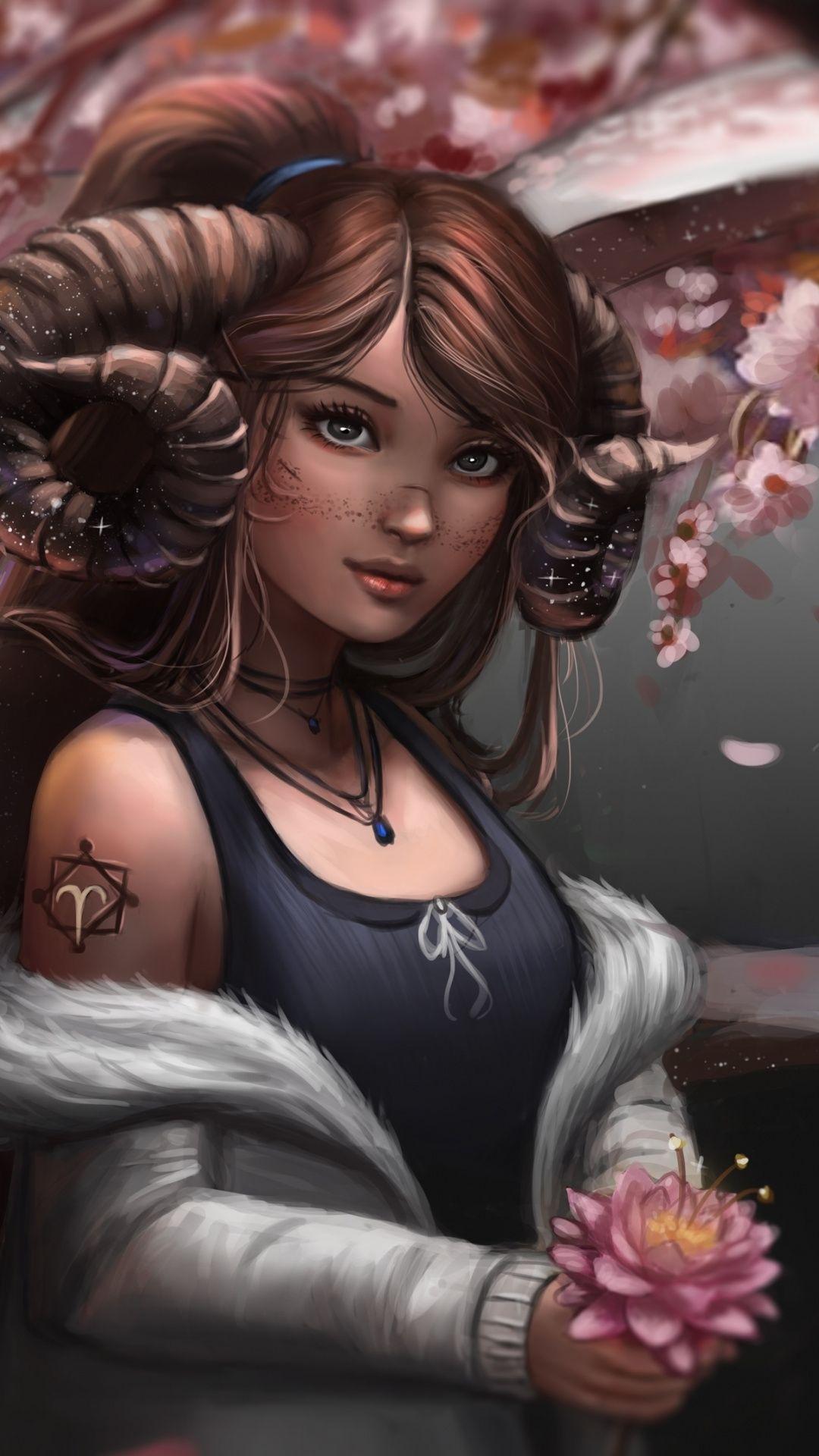 1080x1920 Fantasy Aries Girl Art Wallpaper Aries Art Aries Wallpaper Aries Aesthetic