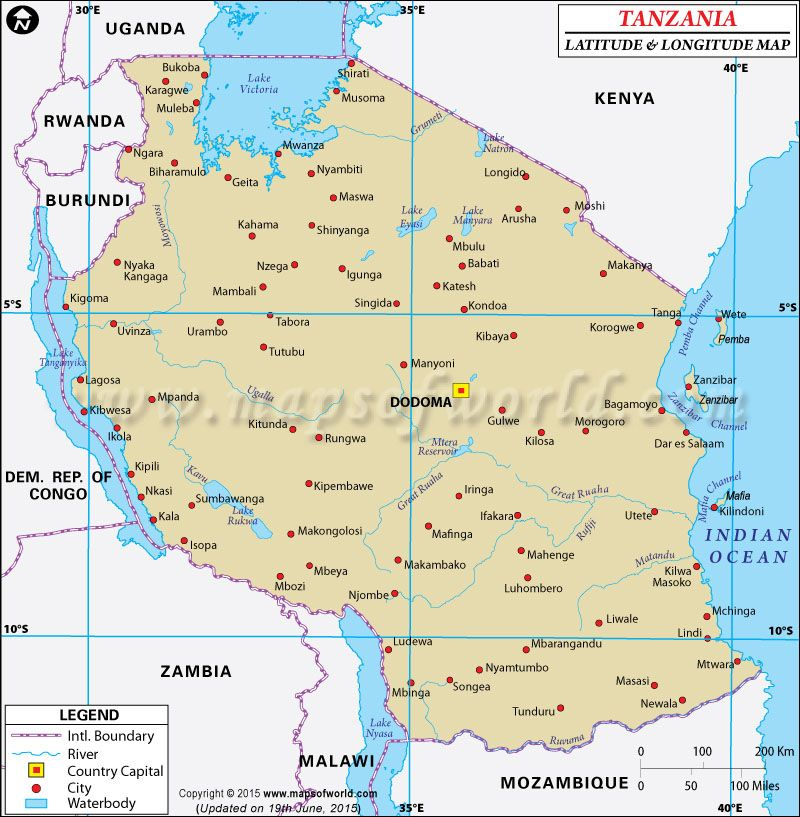 Tanzania Latitude And Longitude Map Httpwwwmapsofworldcom - Argentina map latitude