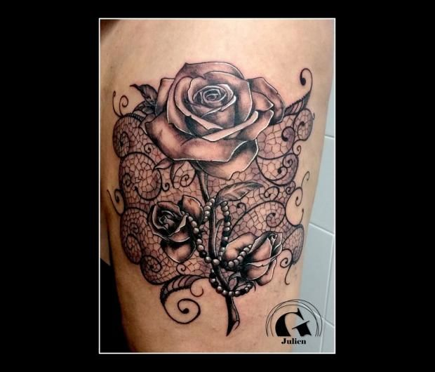Ange et rose tatouage google search tatou pinterest - Tatouage femme ange ...