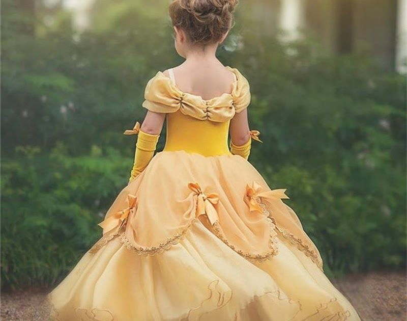 2018 New Belle Girls Dress Yellow Princess Cosplay Costume Birthday Party Dress