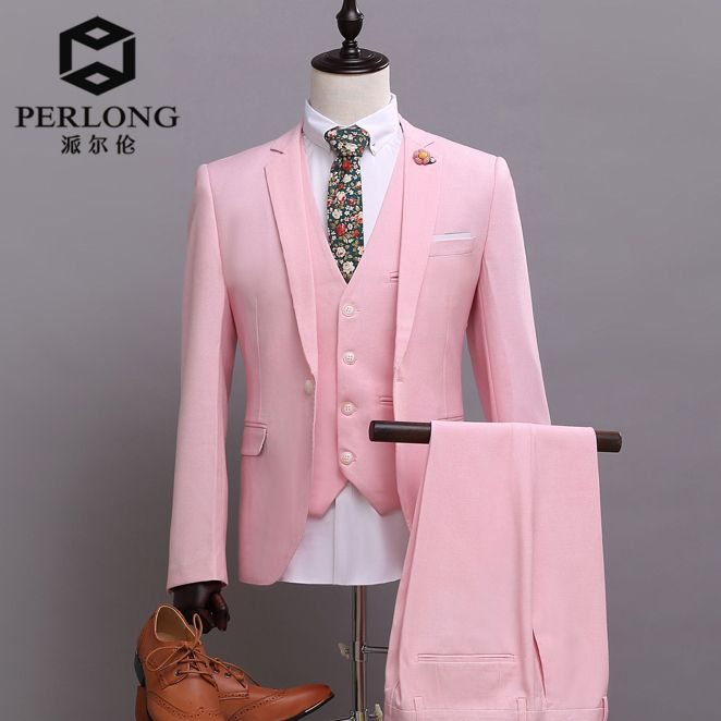 Click to Buy << Pink Suits Brand Casual Men Blazers Slim Fit Jacket ...