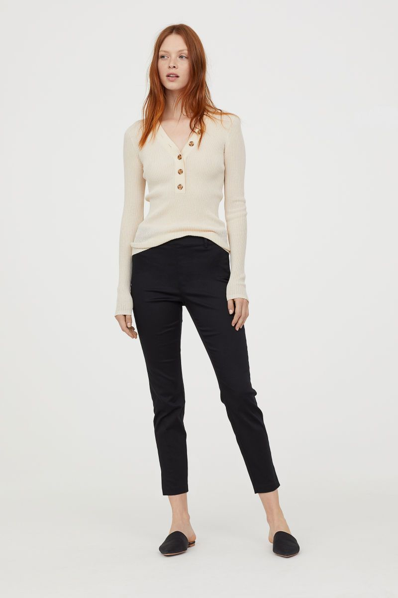 eab03bac5c9 Ankle-length slacks in woven stretch fabric with a regular waist. Concealed  side zip