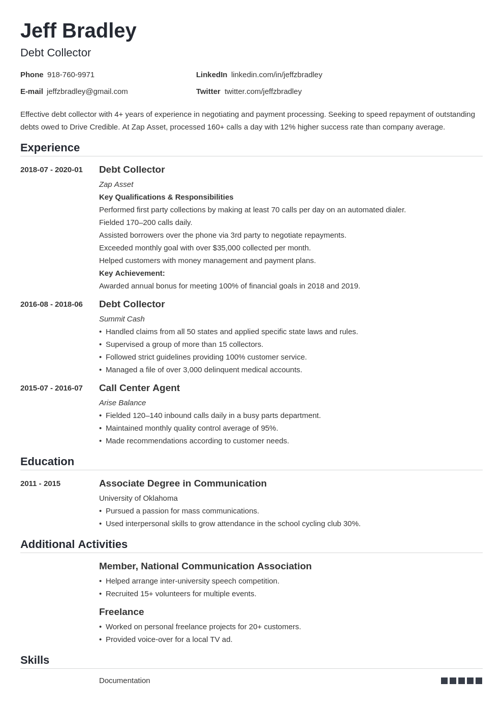 Collector Resume Example Template Nanica Resume Examples Job Resume Examples Resume