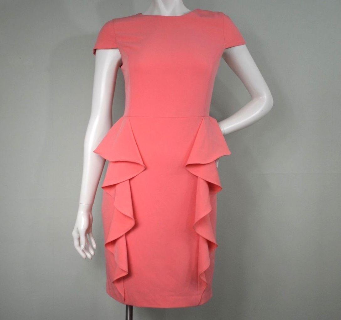 Sheath dresses for wedding guest  Cool Awesome Badgley Mischka Belle Ruffle Peplum Sheath Dress Coral