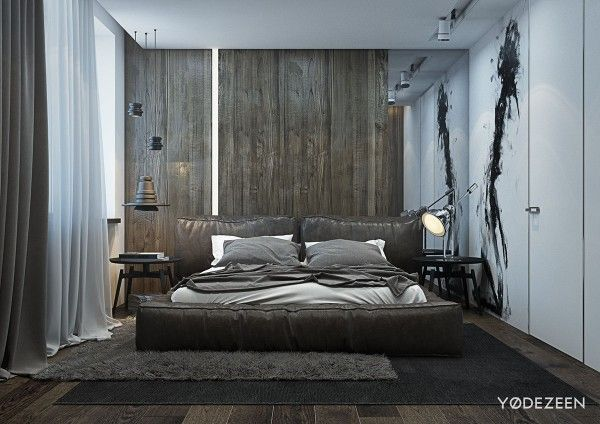A dark and calming bachelor pad with natural wood and concrete interior design ideas
