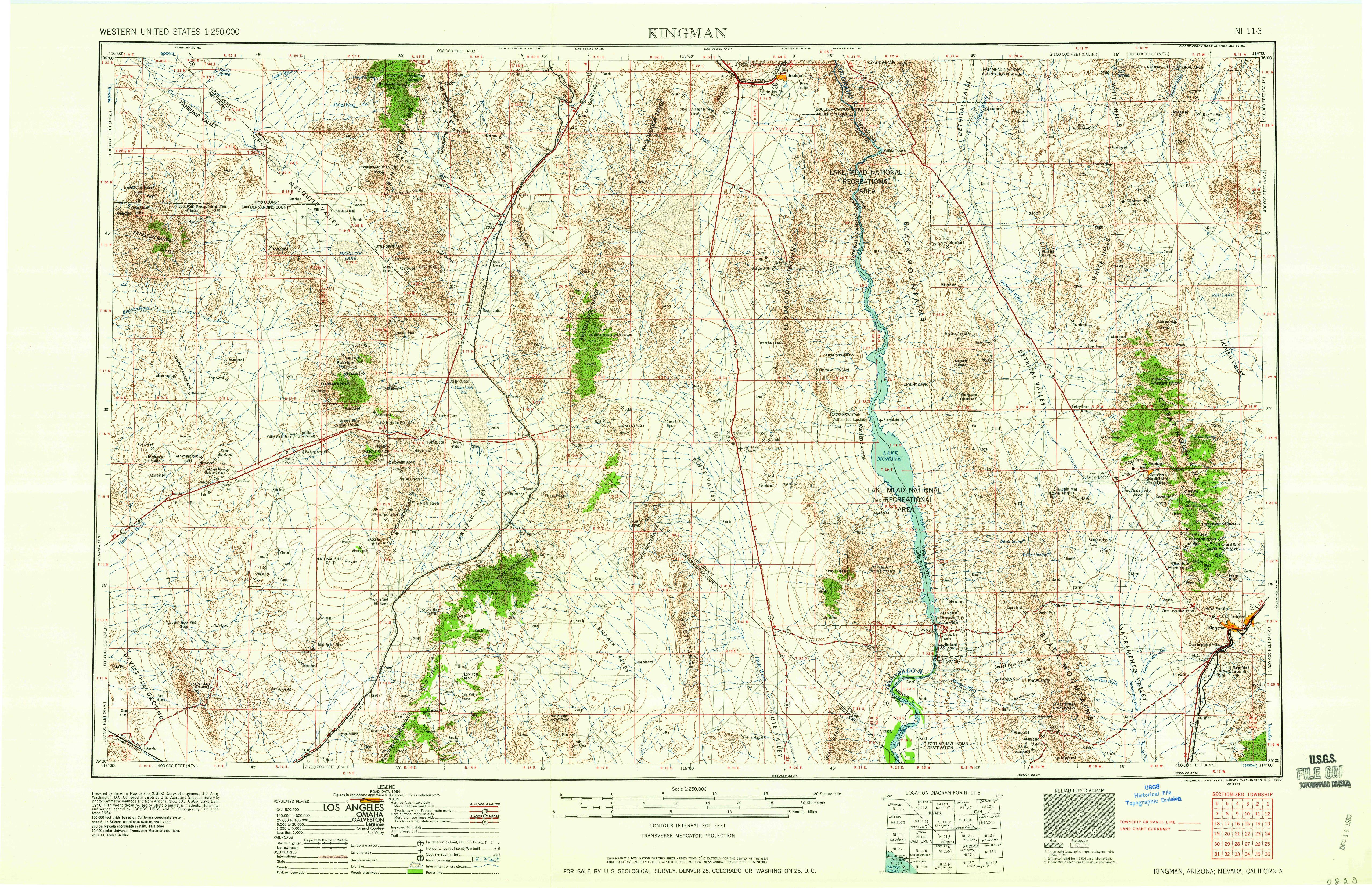 Map Of Arizona Kingman.Kingman Az 1960 Map From The Usgs Historical Topographic Byway