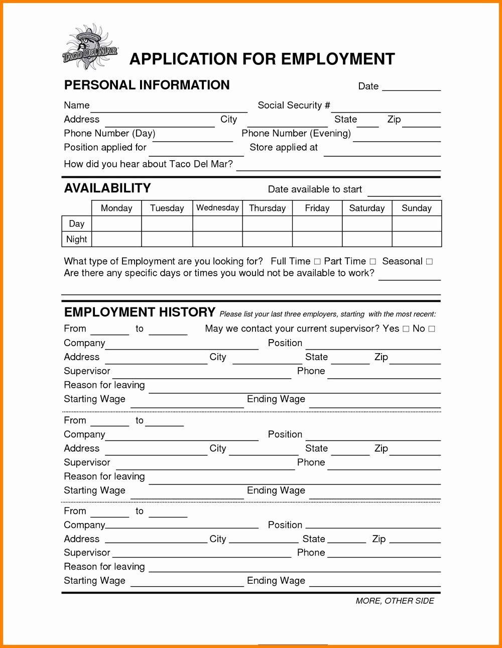Wawa Job Application form Pdf Fresh Taco John S Line Job