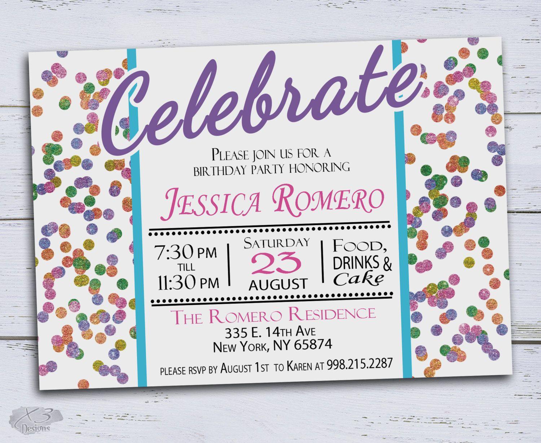 Confetti Printable Birthday Invitations DIY, Kids Birthday ...