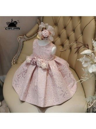4664d3ba9bf Blush Pink Lace Couture Flower Girl Dress With Flowers Pageant Dress For  Girls