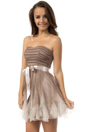 Teeze Me | Mink/Multi Strapless Glitter Ombre Petal Cocktail Dress ...