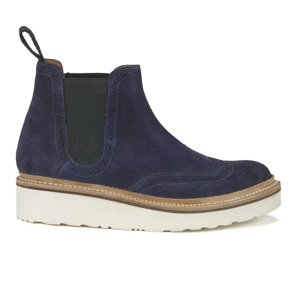 09498fdf1f3a64 Grenson Women s Alice Brogue Leather Chelsea Boots - Black Calf ...