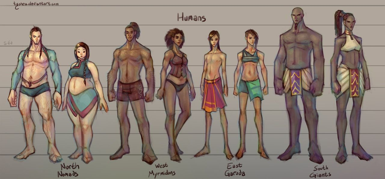 905aefd870c59 Fantasy Races   1 4  Humans by Tyshea male and female human race player  character npc chart