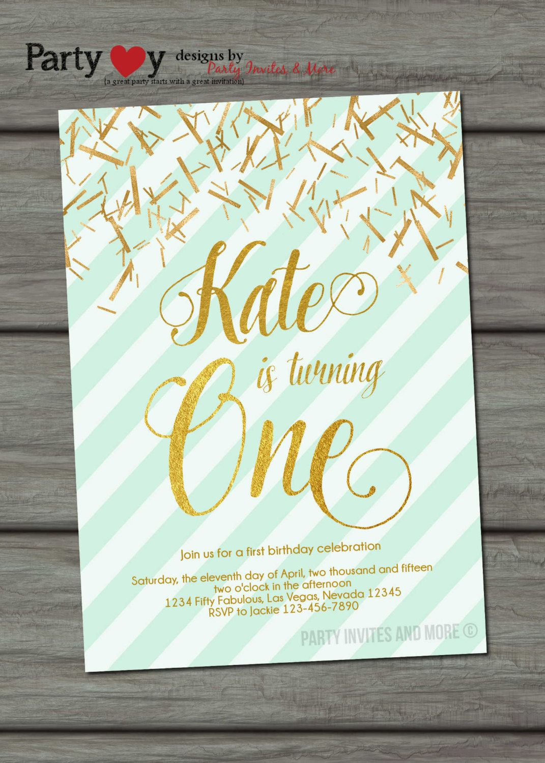 Mint And Gold Birthday Invitation Foil First
