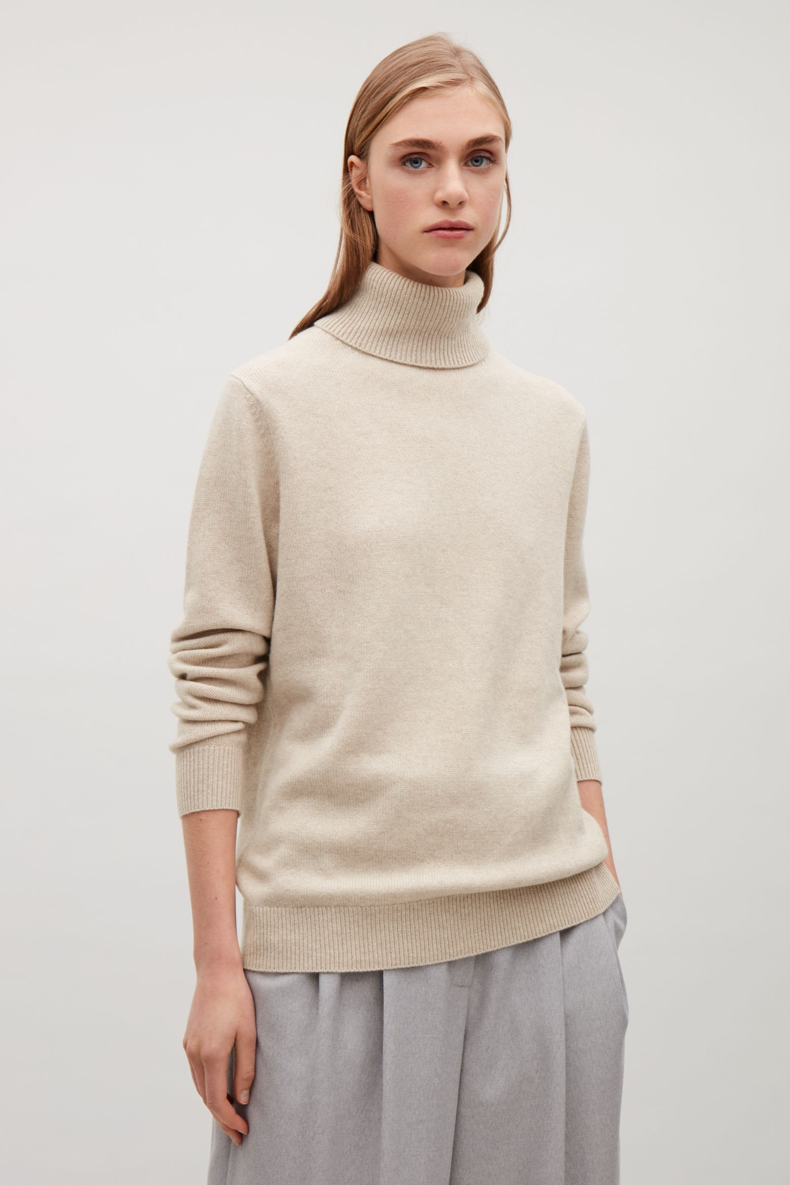 40fac0032656 COS image 9 of High-neck cashmere jumper in Sand | Outfit | Cashmere ...