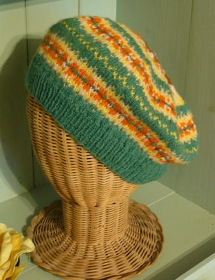 "Green ""Fair Isle "" beret 