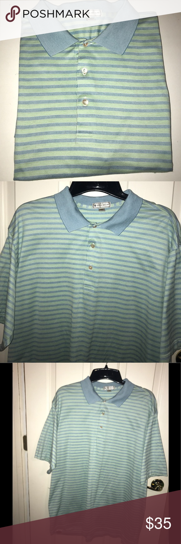 EUC💚PETER MILLAR💚Stripe Polo Shirt EUC💚PETER MILLAR💚Stripe Polo Shirt. Size-XXL. 100 % Cotton. Original cost $125 Peter Millar Shirts Polos