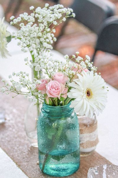 Shabby Chic Tennessee Wedding | Jar, Flower ideas and Wedding flower ...