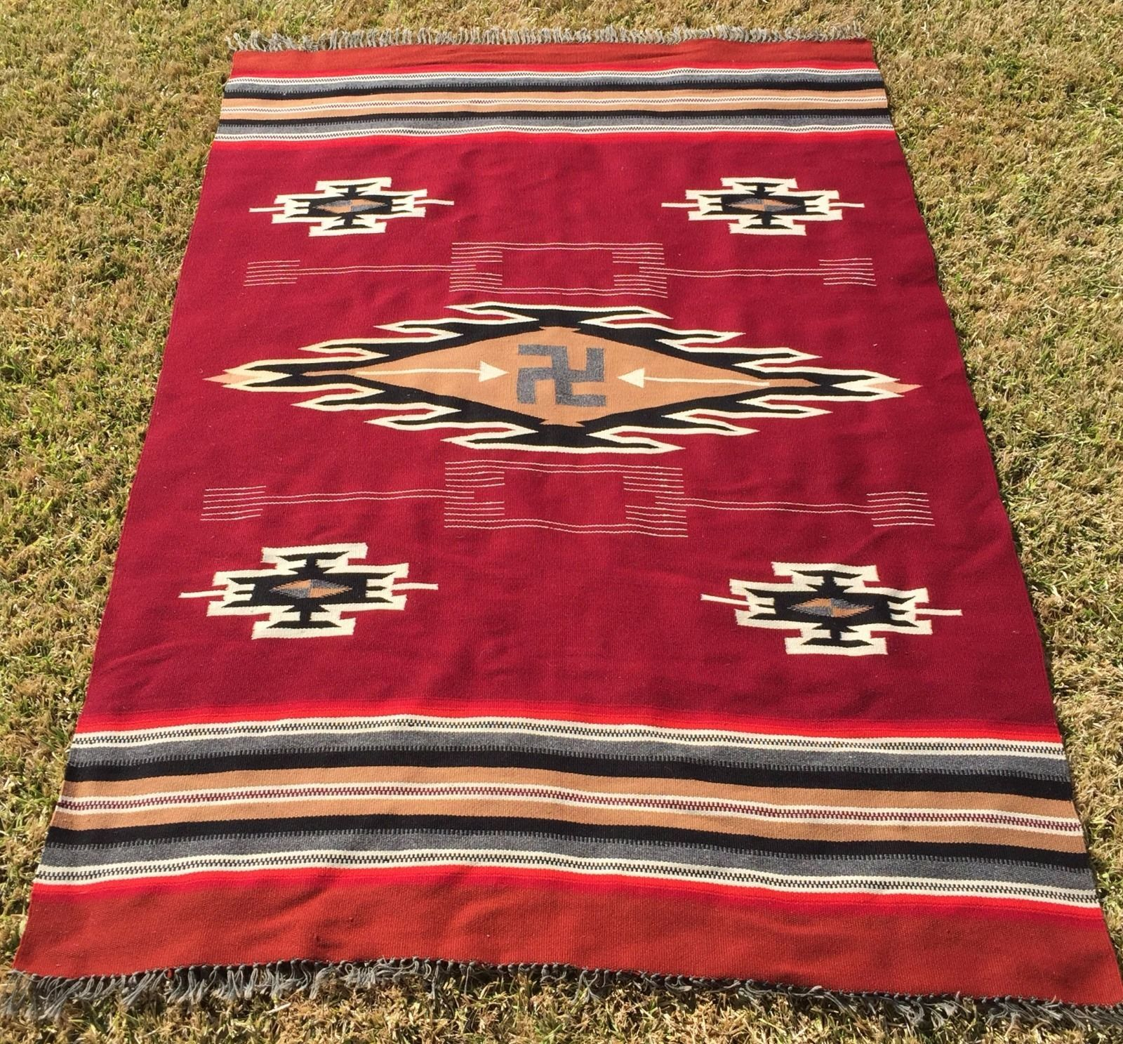 1900 Native American Chimayo Whirling Log Tapestry Weaving Indian 76 1 2