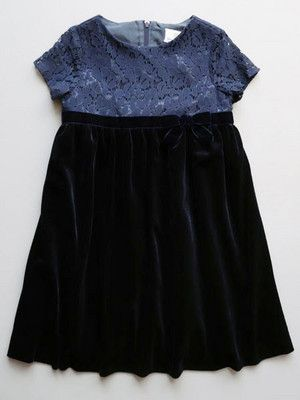 60525d30099 Unquestionable elegance in girls clothing design from Florence Eiseman. Navy  velvet and blue lace girls holiday and special occasion dress.