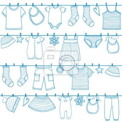 fotobehang kinderen kleren aan waslijn waslijn kleren