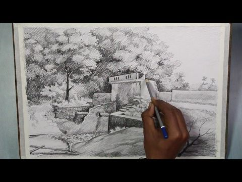 Pencil drawing techniques how to draw a landscape step by step youtube
