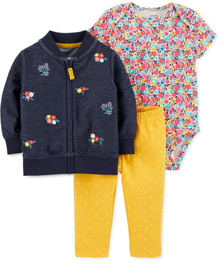Photo of Carter's Baby Girls 3-Pc. Floral Bomber Jacket, Printed Bodysuit & Pants Set & Reviews – Sweaters – Kids – Macy's