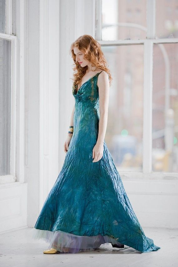 Teal Blue wedding dress and crinoline boho beach bridal gown mother ...