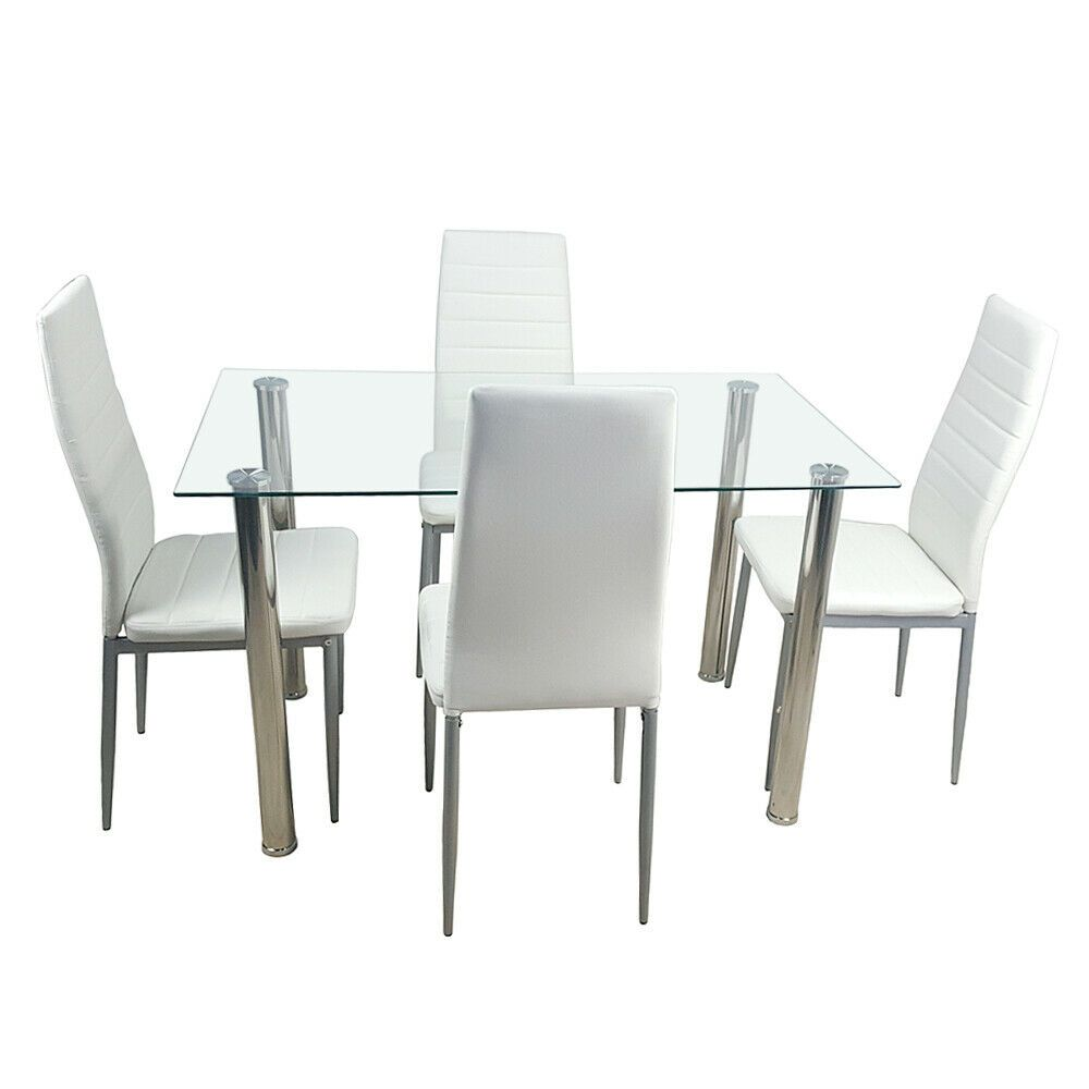 Dining Table Tempered Glass Dining Table With 4 Chair Transparent