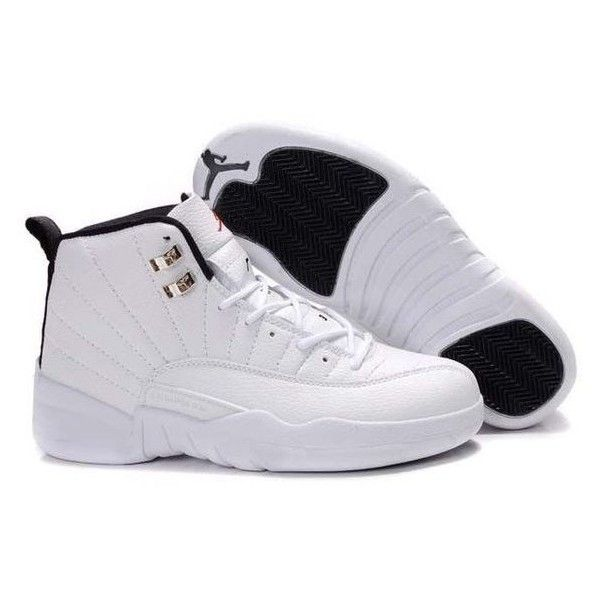 size 40 9cf45 44e4d New Air Jordan 12 (XII) Retro All White Black ❤ liked on Polyvore featuring  shoes, jordans and sneakers