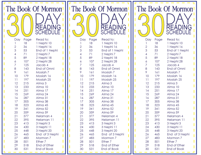 The book of mormon day reading schedule free printable also rh pinterest