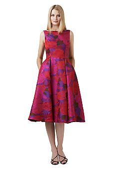 Adrianna Papell Jacquard Tea Length Dress Tea Length Cocktail Dresses Floral Tea Length Dress Dresses