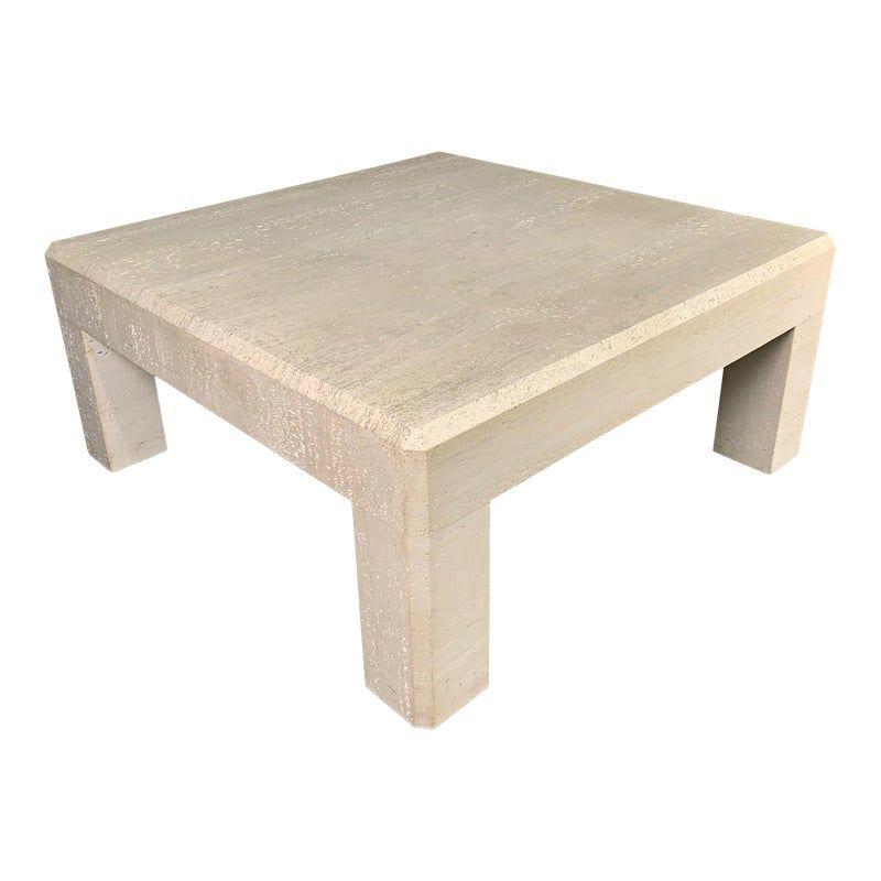 1980s italian travertine square coffee table in 2020