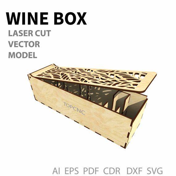 Wine box, Wood wine box  Laser cut project plan  Instant