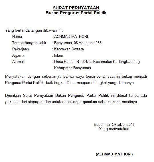 Contoh Surat Pernyataan Menjadi Pengurus Yayasan Surat Tanda Politik