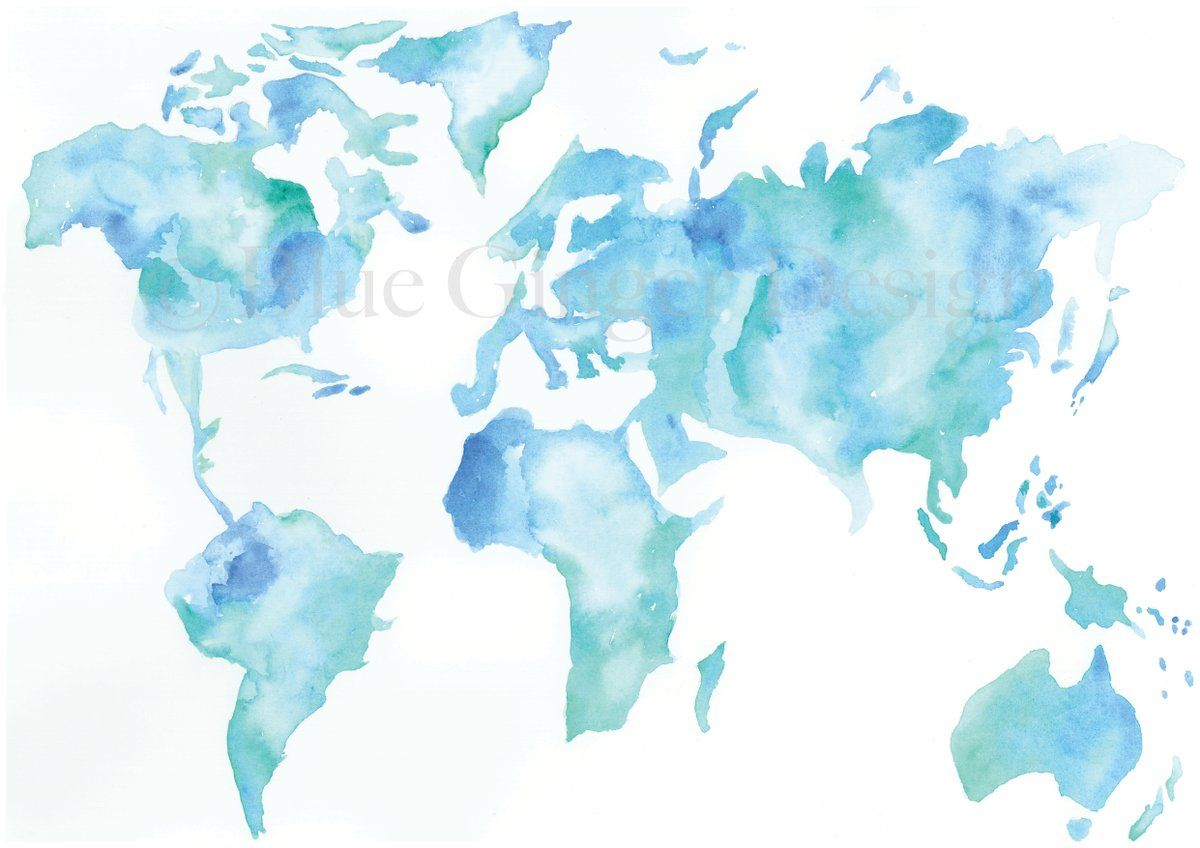 Wanderlust Map Light Blue A3 With Images Watercolor Splash