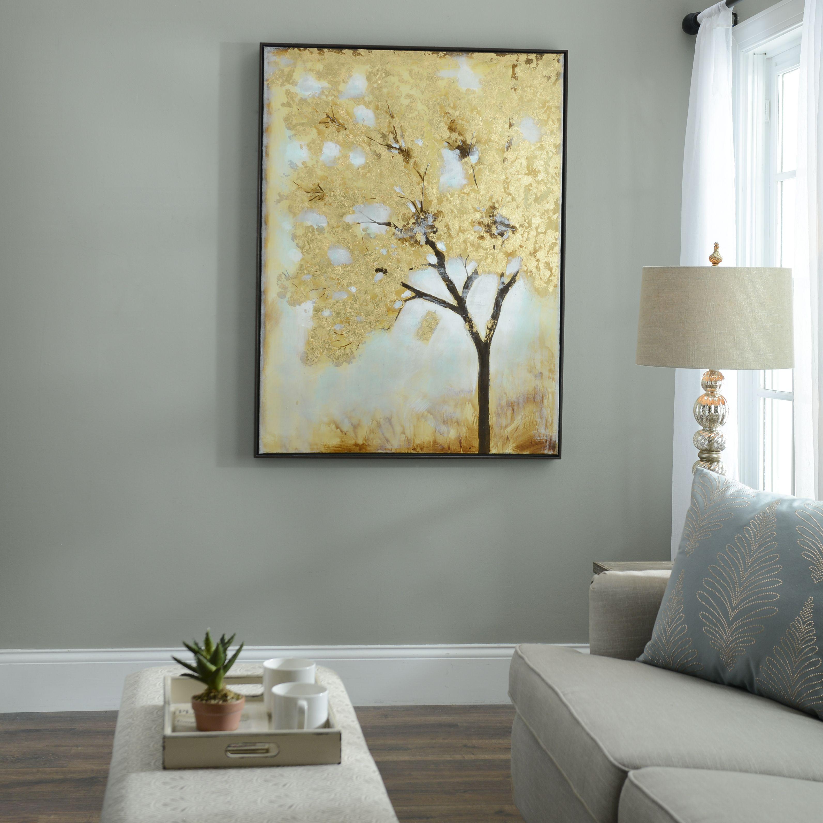 Gold leafed tree framed art print apartment living decorative