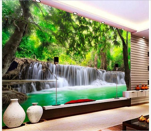 Customized 3d Wallpaper 3d Wall Murals Wallpaper 3 D Hd Jungle River Waterfall Adornment Picture 3d Sitting Room Photo Wallpa Wodospady Malowidlo Scienne Mural