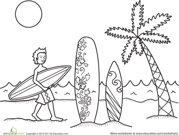 kids surfer coloring pages - photo#4