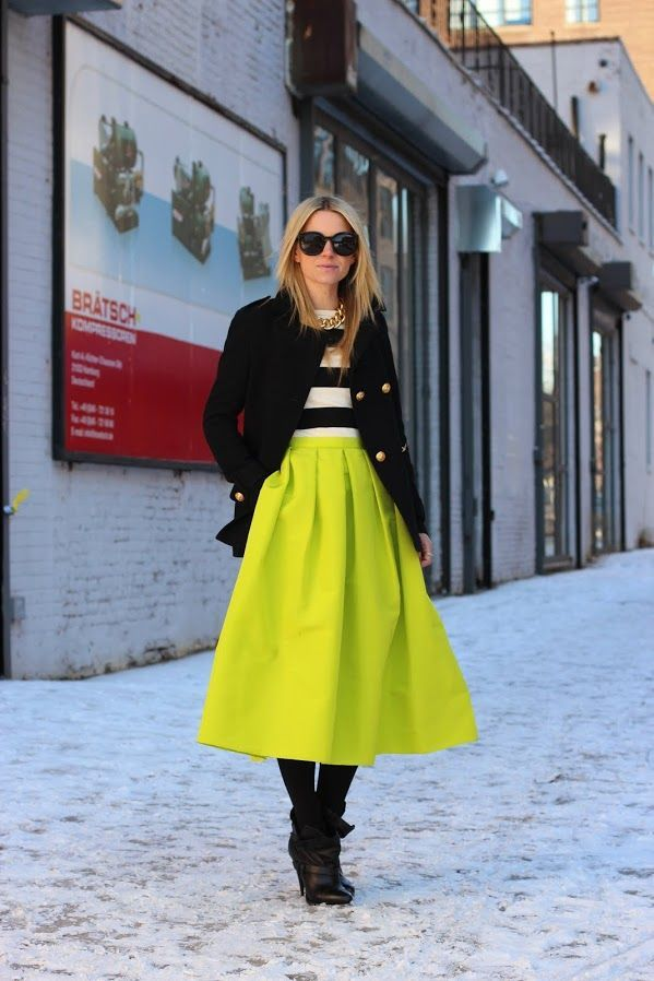 Shop this look on Lookastic: http://lookastic.com/women/looks/sunglasses-necklace-crew-neck-sweater-coat-midi-skirt-tights-ankle-boots/4485 — Black Sunglasses — Gold Necklace — White and Black Horizontal Striped Crew-neck Sweater — Black Coat — Green-Yellow Pleated Midi Skirt — Black Wool Tights — Black Leather Ankle Boots