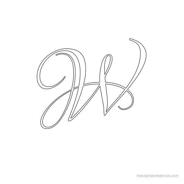 Calligraphy alphabet stencil w letter pinterest