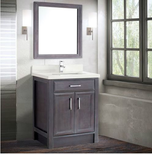 Images On Calais inch Transitional Bathroom Vanities French Gray Finish Wood framed mirror Stone countertop with under mount sink Matching backsplash