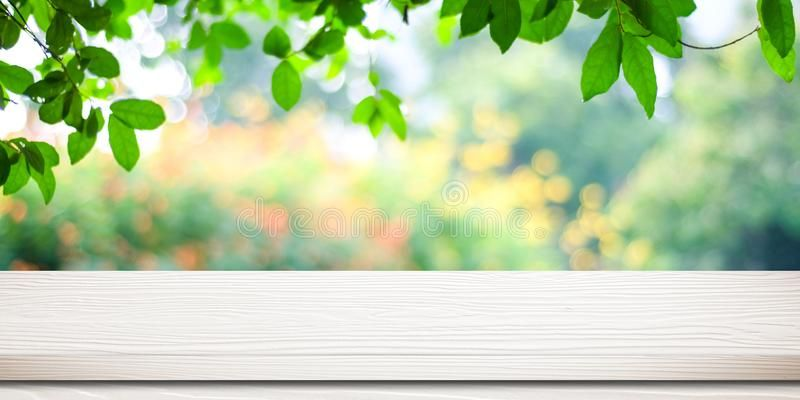 Empty White Vintage Wooden Table Over Blurred Park Nature Background Banner For Affiliate Table Nature Backgrounds Blur Photo Background White Vintage