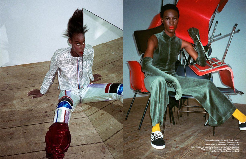 Lydia @ Wilhelmina wears Silver Trousers & Jacket / Sadie Williams Opposite Shaun @ Milk wears Jumpsuit & Gloves / Irene Sj Yu FW16 Shoes / adidas