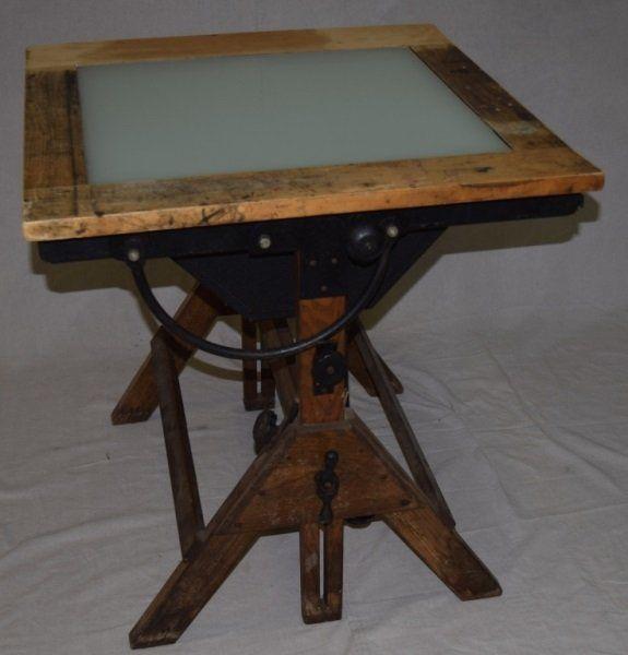 Hamilton Industrial Drafting Table W/ Light Box : Lot 129