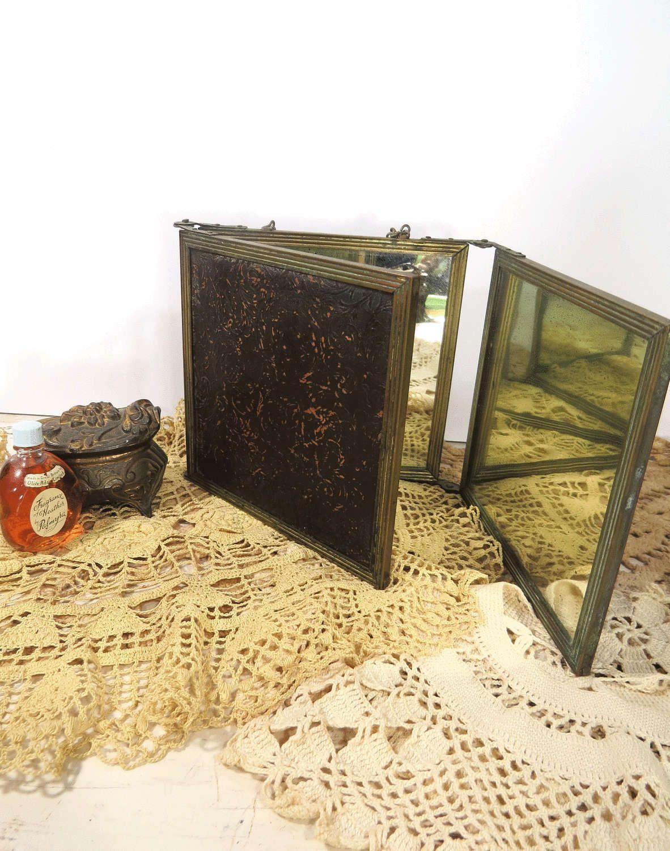 RESERVED for Kristen - Vintage Tri-Fold Vanity Mirror, Antique Triple Frame  Folding Traveling Mirror, Victorian Era, Embossed Leather - RESERVED For Kristen - Vintage Tri-Fold Vanity Mirror, Antique